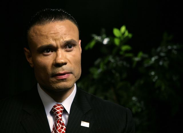 Dan Bongino, a former Secret Service agent who is a Republican candidate for the U.S. Senate in Maryland, speaks during an interview with the Associated Press on Tuesday, April 17, 2012, in New York. (AP Photo/P