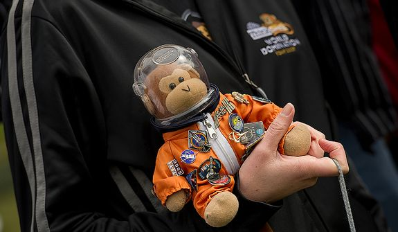"""Timmy"" the monkey joined the Think Geek crew as they watched the space shuttle Discovery fly past the Smithsonian Air and Space Museum's Udvar-Hazy Center in Chantilly, Va., on Tuesday, April 17, 2012. Timmy has been to at least five shuttle launches. (Barbara L. Salisbury/The Washington Times)"
