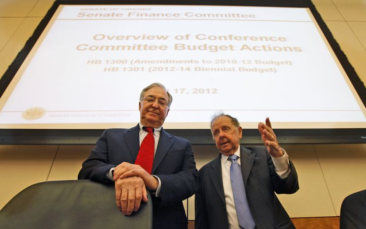 Senate Finance Committee chairman, Sen. Walter Stosch, Henrico Republican, left, and Sen. Charles Colgan, Prince William Democrat, talk prior to a Senate budget briefing at the Capitol in Richmond, Va., Tuesday, April 17, 2012. (AP Photo/Steve Helber)