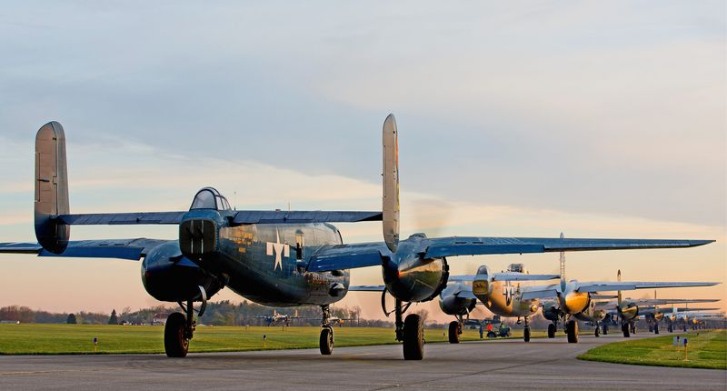 B-25 bombers from across the country line up Tuesday at Grimes Field Airport in Urbana, Ohio. The planes were on their way to Ohio's Wright-Patterson Air Force Base to celebrate the 70th anniversary of Doolittle's Tokyo Raid. (Andrew S. Geraci/The Washington Times)
