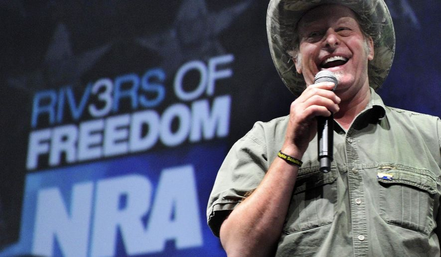 Musician and gun rights activist Ted Nugent addresses a seminar at the National Rifle Association's convention in Pittsburgh on May 1, 2011. (Associated Press) **FILE**