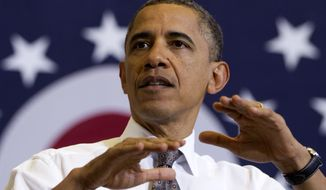 ** FILE ** President Barack Obama speaks at Lorain County Community College, Wednesday, April 18, 2012, in Elyria, Ohio. (AP Photo/Carolyn Kaster)