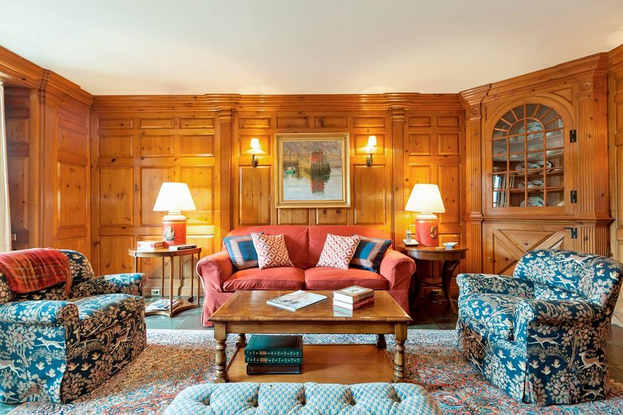 The library features pine paneling that was reclaimed from the White House during the Hoover administration.