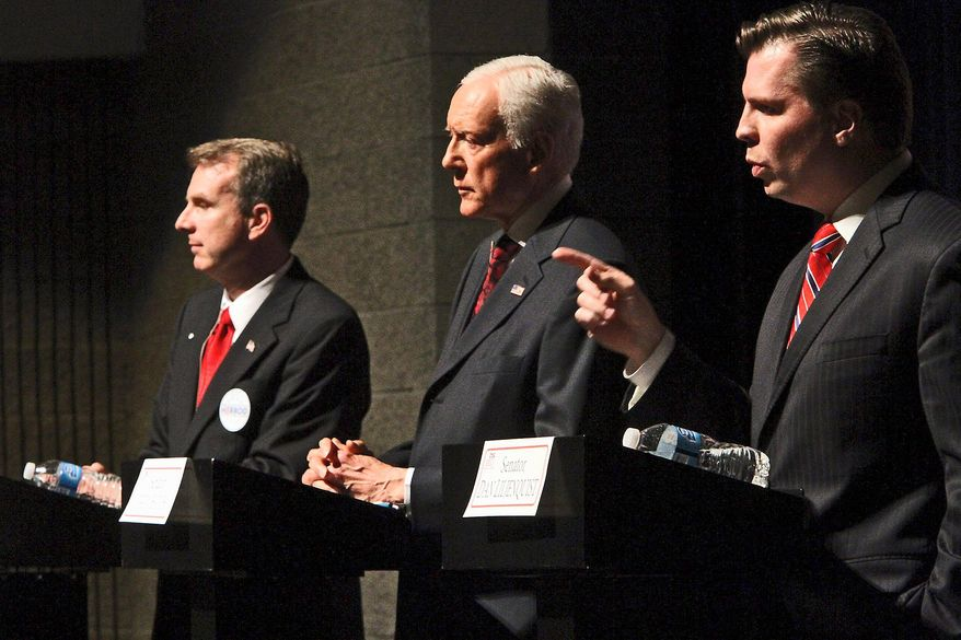 Sen. Orrin Hatch (center) is facing a re-election challenge from fellow Republicans state Rep. Chris Herrod (left) and former state Sen. Dan Liljenquist. All three participated in a debate April 4. Delegates at a weekend state convention will vote for the party's nominee. Mr. Hatch is seeking a seventh term and two recent polls of likely voters bolster his chances. (The Salt Lake Tribune via Associated Press)
