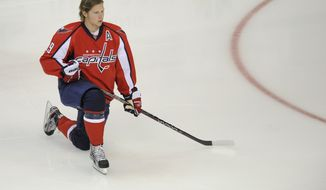 Washington Capitals center Nicklas Backstrom was suspended for Game 4 after his cross-check on Boston Bruins cednter Rich Peverley at the conclusion of Game 3. (AP Photo/Nick Wass)