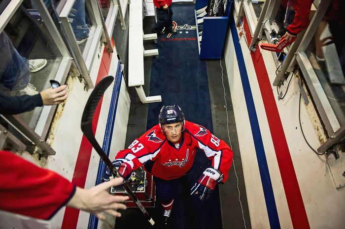 Washington Capitals center Jay Beagle walks back to the locker room after warming up before the Washington Capitals take on the Boston Bruins in Game 4 of first-round playoff hockey at  Verizon Center in Washington on Thursday, April 19, 2012. (Andrew Harnik/The Washington Times)