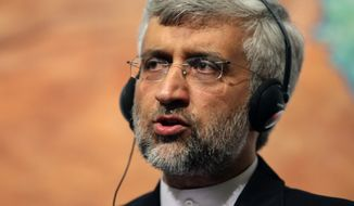Iran's chief nuclear negotiator Saeed Jalili speaks April 14, 2012, to the media after daylong talks with six world powers in Istanbul, Turkey.