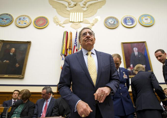 Defense Secretary Leon Panetta arrives April 19, 2012, on Capitol Hill to testify before the House Armed Services Committee about recent developments with the crisis in Syria. (Associated Press)