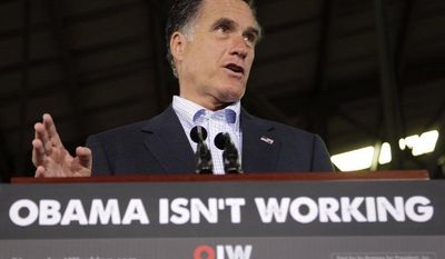 Republican presidential candidate and former Massachusetts Gov. Mitt Romney speaks April 19, 2012, at the closed National Gypsum drywall factory in Lorain, Ohio. (Associated Press)