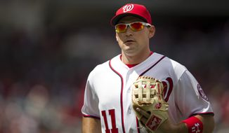 Ryan Zimmerman missed the Washington Nationals' game against the Miami Marlins on Saturday with shoulder inflammation. (AP Photo/Evan Vucci)