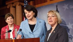 """Republican opposition to reauthorizing the Violence Against Women Act in its current form will """"absolutely"""" be used against them as a campaign issue, according to (from left) Sen. Jeanne Shaheen, of New Hampshire, Sen. Dianne Feinstein, of California, and Sen. Patty Murray, of Washington, all Democrats. (Associated Press)"""