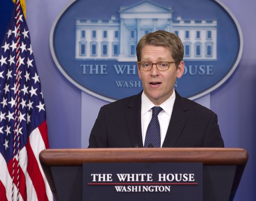 White House Press Secretary Jay Carney speaks April 23, 2012, during his daily news briefing at the White House. (Associated Press)