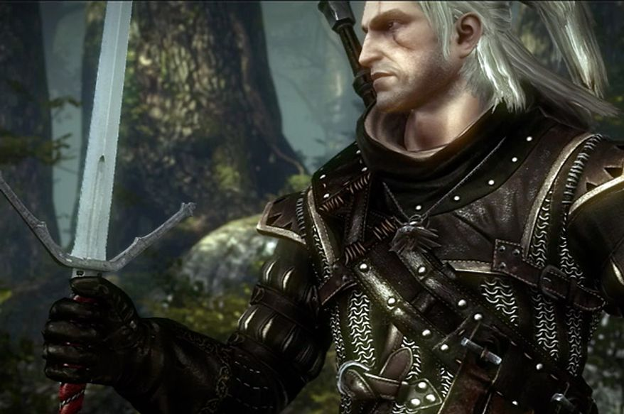 Geralt of Rivia prepares for battle in the video game The Witcher 2: Assassins of Kings, Enhanced Edition.