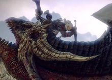 Geralt of Rivia slays a dragon in the video game The Witcher 2: Assassins of Kings, Enhanced Edition.