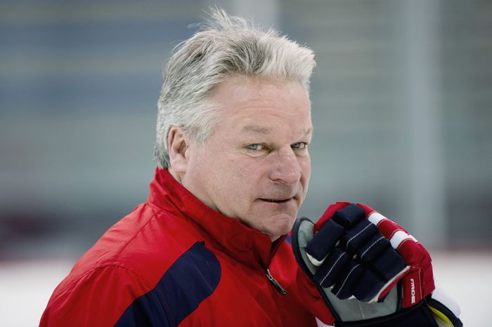 Washington Capitals head coach Dale Hunter is seen here on March 15, 2012, during morning practice at Kettler Capitals Iceplex in Arlington, Va. (Andrew Harnik/The Washington Times)