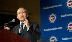 Mexican President Felipe Calderon speaks to the U.S. Chamber of Commerce in the District. Mr. Calderon said illegal immigration was fading as a flash point of division between the United States and Mexico. (Barbara L. Salisbury/The Washington Times)