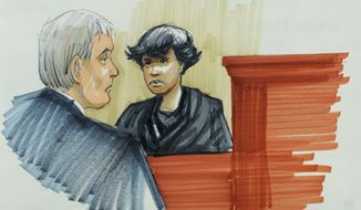 In this courtroom sketch, singer and actress Jennifer Hudson testifies Monday, April 23, 2012, in Chicago at the murder trial of William Balfour, charged in the October 2008 killings of her mother, brother and nephew. (AP Photo/Tom Gianni)