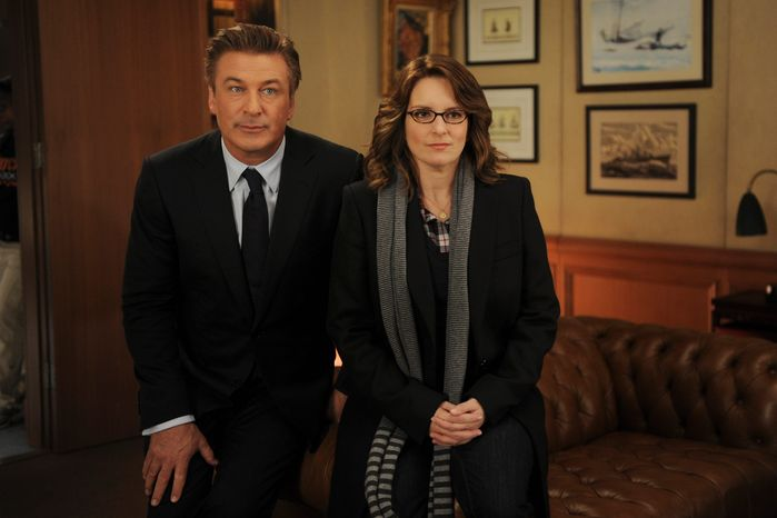 """The NBC comedy """"30 Rock,"""" starring Tina Fey and Alec Baldwin, will air its second live episode Thursday. (NBC via Associated Press)"""