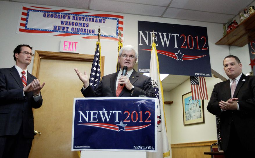 Aides confirmed reports that former House Speaker Newt Gingrich, here in Cramerton, N.C., on Wednesday, will drop out of the race for the Republican presidential nomination in the next few days. Mitt Romney scored another five primary victories on Tuesday. (Associated Press)