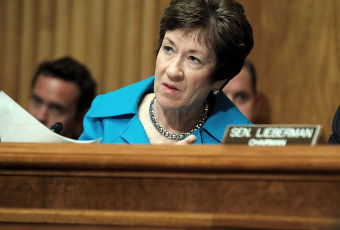 Sen. Susan M. Collins, Maine Republican, sponsored the Postal Service bill considered Wednesday with Sens. Joe Lieberman, Connecticut independent, Scott Brown, Massachusetts Republican, and Thomas R. Carper, Delaware Democrat. (Associated Press)