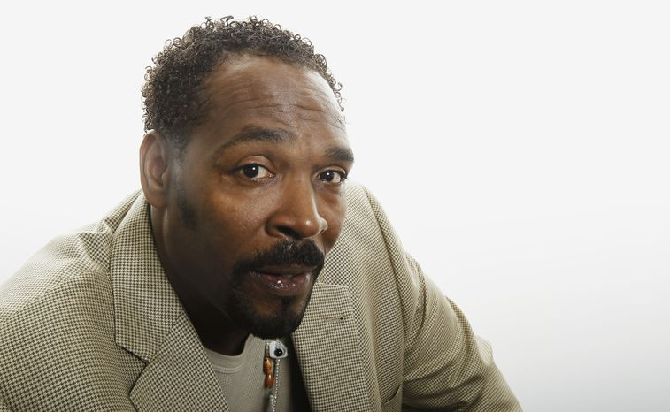Rodney King poses on April 13, 2012, for a portrait in Los Angeles. The 1992 acquittal of four police officers in the videotaped beating of Mr. King sparked rioting that spread across Los Angeles and into neighboring suburbs. (Associated Press)