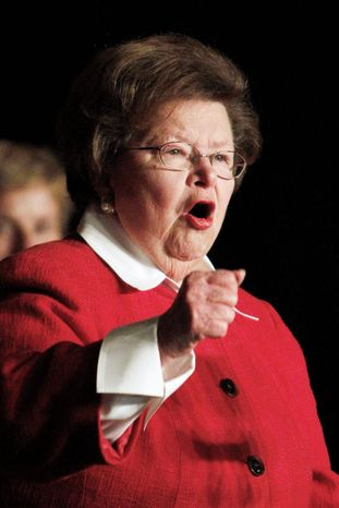 """""""It's not about who gets the credit; it's about who gets help,"""" said Sen. Barbara A. Mikulski, Maryland Democrat, urging GOP colleagues to support the Violence Against Women Act. (Associated Press)"""