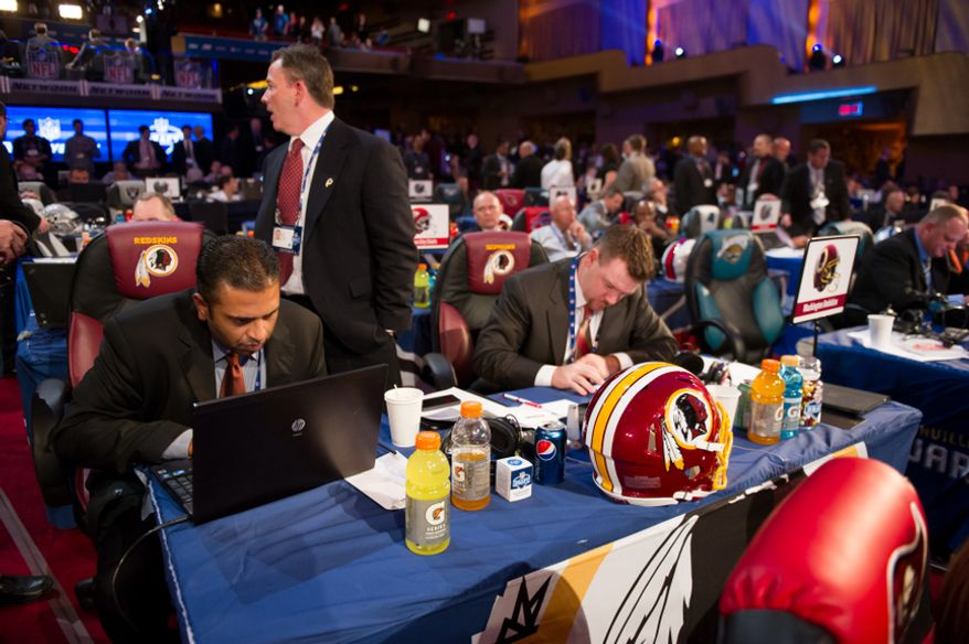 The Washington Redskins table before the beginning of the National Football League Draft held at Radio City Music Hall, New York, N.Y., Thursday, April 26, 2012. (Andrew Harnik/The Washington Times)