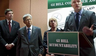 ** FILE ** In this photo taken, Tuesday, March 27, 2012, Iraq war veteran Army 1st Lt. Paul Rieckhoff, right, joined by, from left, Sen. Mark Begich, D-Alaska., Sen. Daniel Akaka, D-Hawaii., and Sen. Patty Murray, D-Wash., speaks during a news conference introducing the GI benefit watchdog bill, on Capitol Hill in Washington. (AP Photo/Manuel Balce Ceneta)