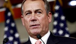 ** FILE ** In this April 26, 2012, file photo, House Speaker John Boehner of Ohio speaks during his weekly news conference on Capitol Hill in Washington. Republicans ignored a veto threat and overcame a rebellion by party conservatives to push a bill through the House Friday keeping interest rates on millions of federal student loans from doubling this summer. (AP Photo/Jacquelyn Martin, File)
