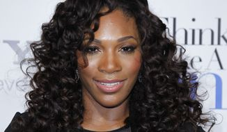 "** FILE ** Tennis player Serena Williams poses at the Pan African Film & Arts Festival's opening-night premiere of Screen Gems' ""Think Like a Man"" in Los Angeles on Feb. 9, 2012. (AP Photo/Danny Moloshok)"