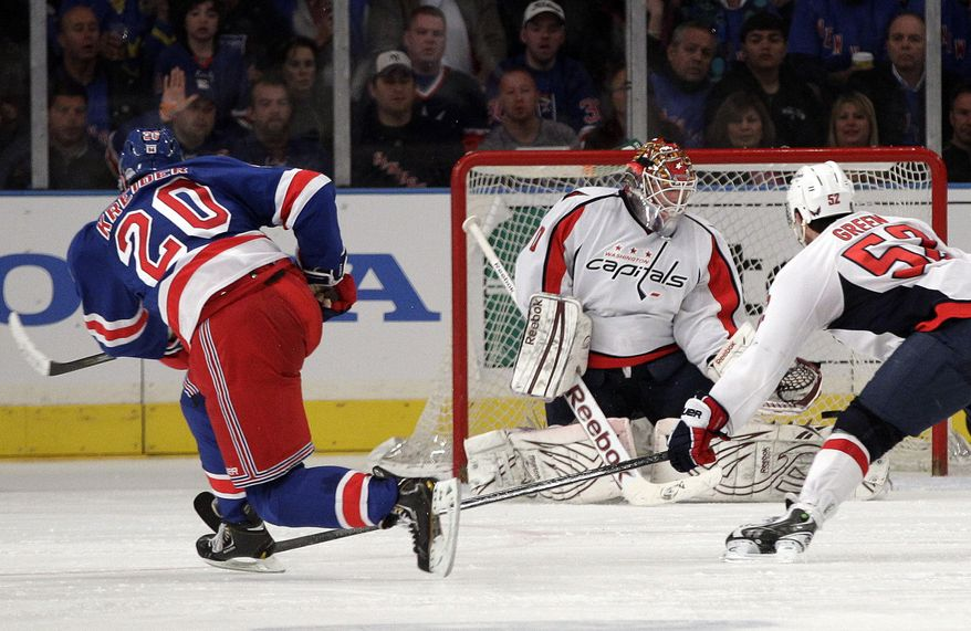New York Rangers forward Chris Kreider scored the game-winner against the Washington Capitals on Saturday in Game 1 of their second-round series. The Rangers won 3-1. (AP Photo/Frank Franklin II)