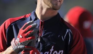 Washington Nationals left fielder Bryce Harper warms up prior to their baseball game against the Los Angeles Dodgers on Saturday, April 28, 2012, in Los Angeles. (AP Photo/Mark J. Terrill)