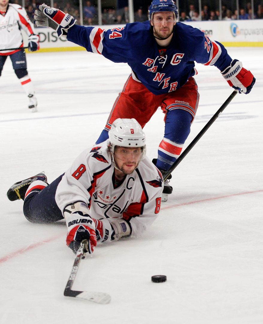 Left wing Alex Ovechkin is tied with Brooks Laich for the team lead in postseason scoring with five points, but more is needed from the Capitals' captain. (Associated Press)