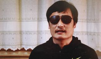 Blind Chinese legal activist Chen Guangcheng is pictured in a video posted to YouTube on Friday, April 27, 2012, by the overseas Chinese news site Boxun.com. (AP Photo/Boxun.com)