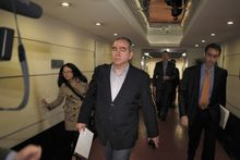 Assistant Secretary of State Kurt Campbell (front), the top U.S. diplomat for East Asia, arrives at a hotel in Beijing early on Sunday, April 29, 2012. (AP Photo/Ng Han Guan)