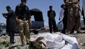 Pakistani security officials stand next to the covered body of British Red Cross worker Khalil Rasjed Dale, which was found in an orchard in Quetta, Pakistan, on Sunday, April 29, 2012. Mr. Dale was kidnapped in January. (AP Photo/Arshad Butt)