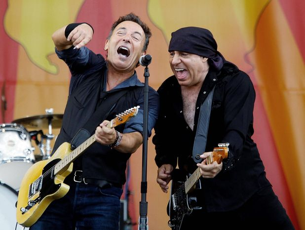 Bruce Springsteen and Steven Van Zandt perform at the 2012 New Orleans Jazz and Heritage Festival on Sunday, April 29, 2012. (AP Photo/The Times-Picayune, David Grunfeld) MAGS OUT;