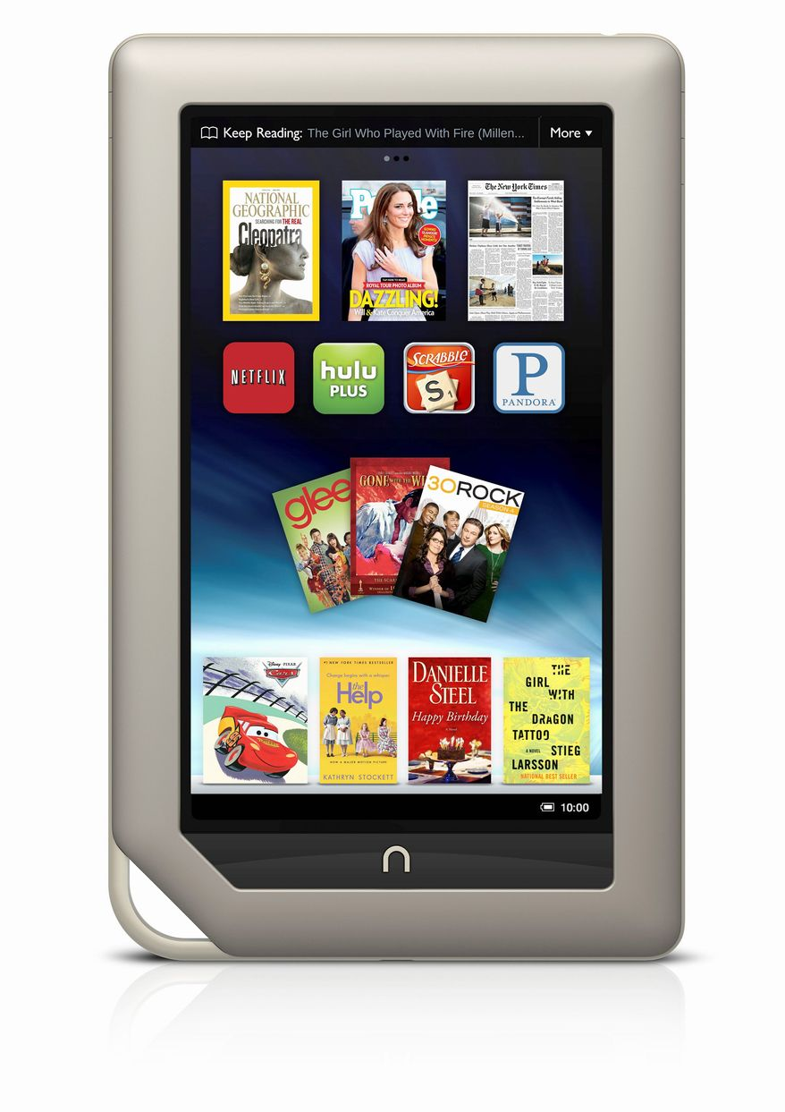 Microsoft is paying $300 million for a minority stake in the digital reader business of Barnes & Noble, which sells the Nook e-book. The pairing could boost Barnes & Noble in its quest to take on Amazon's Kindle. (Barnes & Noble via Associated Press)