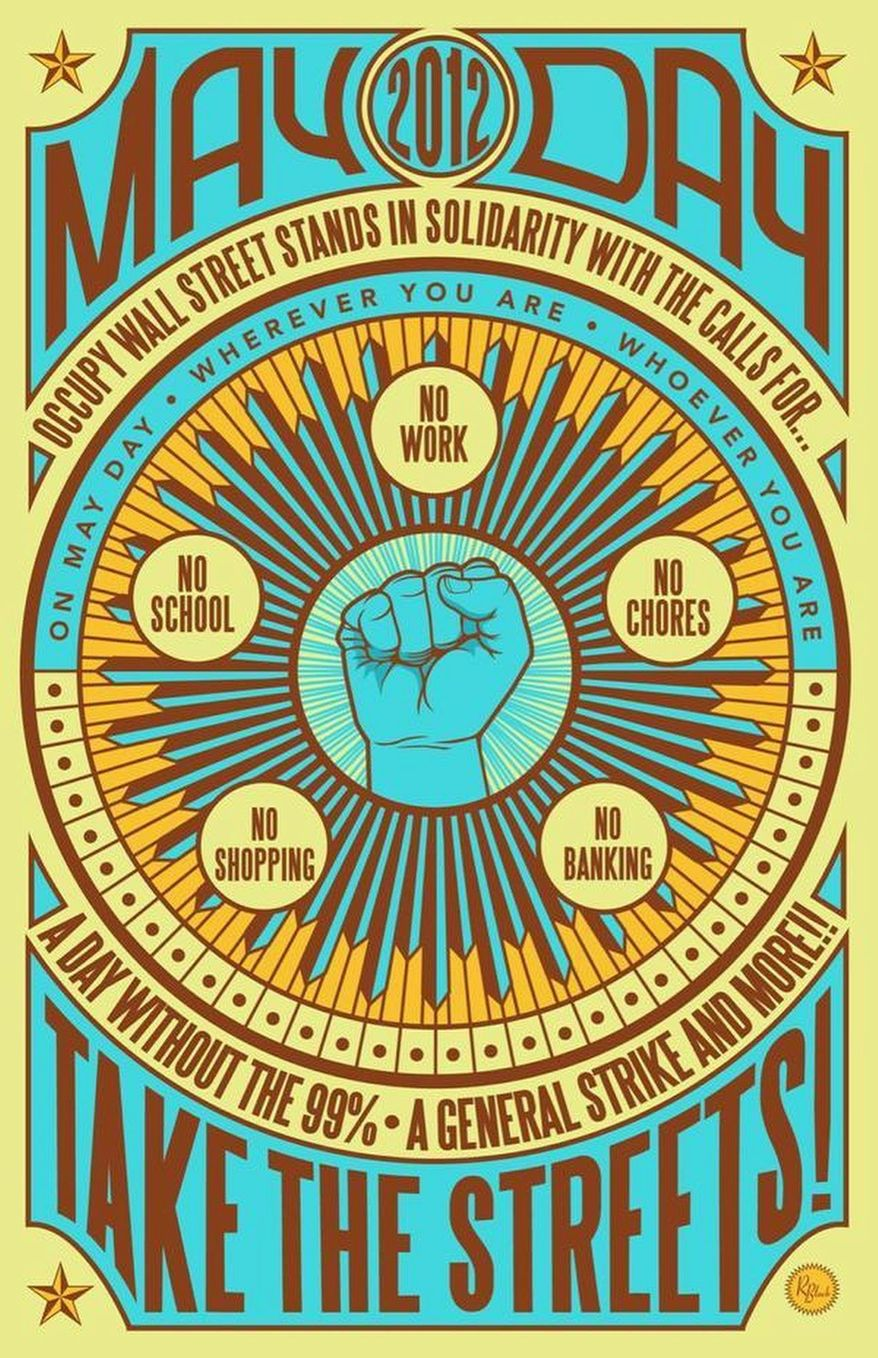 Occupy Wall Street plans May Day events in 125 cities on Tuesday. (image from Occupy Wall Street)
