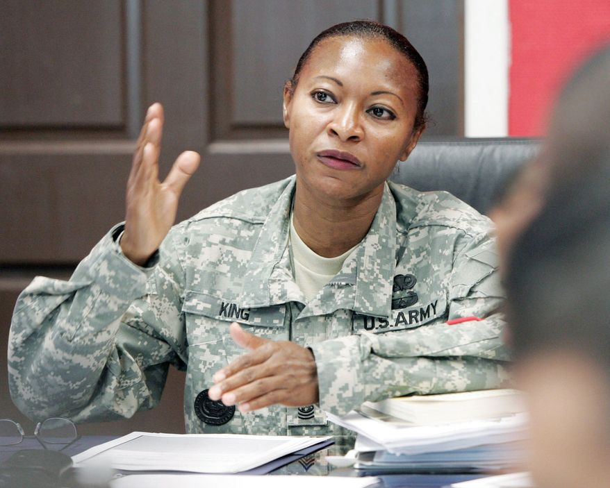 ASSOCIATED PRESS Command Sgt. Maj. Teresa King said she still does not know what conduct of hers was being investigated by her superiors when she was suspended, but she claims her promotion to command of drill sergeant training was resented.