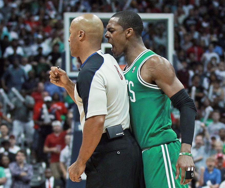 Boston guard Rajon Rondo was suspended one game for making contact with referee Marc Davis during the Celtics' 83-74 loss to Atlanta in Game 1 on Sunday. Game 2 of the Eastern Conference quarterfinal is Tuesday. (Associated Press)