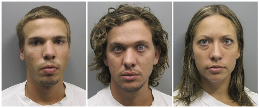 Siblings Ryan Edward Dougherty (from left), Dylan Stanley-Dougherty and Lee Grace Dougherty, who are accused of shooting at a police officer and staging a daring bank robbery in a multistate crime spree, are facing sentencing on charges stemming from their shootout and capture in Colorado. (AP Photo/Pueblo County Sheriff's Office)
