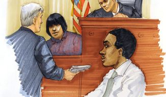 This courtroom sketch shows Julia Hudson, sister of Oscar winner Jennifer Hudson, testifying during the first day of William Balfour's murder trial at the Cook County Criminal Court in Chicago on April 23, 2012. Balfour is charged in the 2008 murder of the mother, brother and nephew of Jennifer Hudson. (Associated Press)