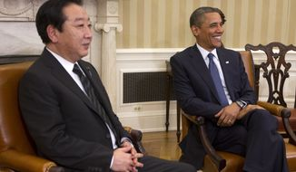 President Obama (right) and Japanese Prime Minister Yoshihiko Noda meet in the Oval Office of the White House in Washington on Monday, April 30, 2012. (AP Photo/Pablo Martinez Monsivais)