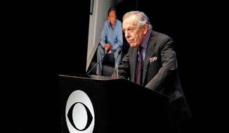 "Morley Safer of ""60 Minutes"" speaks at the CBS News memorial service for Mike Wallace, his former colleague, at Jazz at Lincoln Center in New York on Tuesday. For nearly two hours, colleagues, friends and family members swapped stories about one of television news' best-known journalists. Wallace died at age 93 on April 7. (Associated Press)"