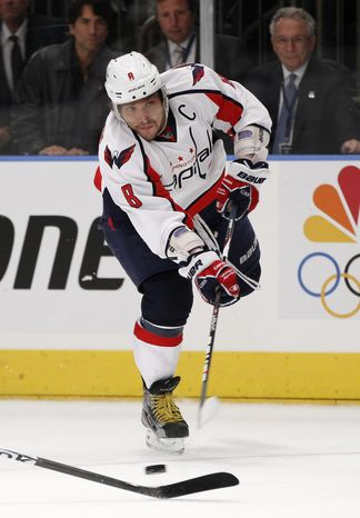 Washington Capitals captain Alex Ovechkin played only 13:36 on Monday night, but he did have the game-winning goal in the 3-2 Game 2 second-round series victory over the New York Rangers. (AP Photo/Kathy Willens)
