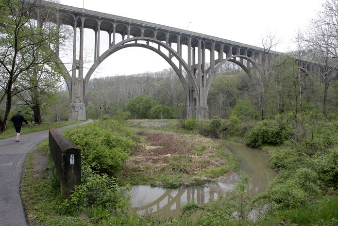 Five men have been arrested for conspiring to blow up this high-level bridge over the Cuyahoga River Valley near Cleveland. (AP Photo/Amy Sancetta)