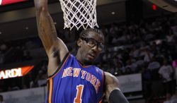 New York Knicks' Amare Stoudemire dunks in the second half against the Miami Heat in the first round of the Eastern Conference playoffs in Miami on Monday, April 30, 2012. The Heat defeated the Knicks 104-94. (AP Photo/Lynne Sladky)