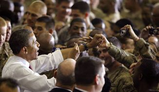 President Barack Obama addresses troops at Bagram Air Field, Afghanistan, Wednesday, May 2, 2012. (AP Photo/Charles Dharapak) **FILE**