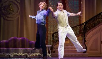 "Kelli O'Hara (left) and Matthew Broderick star in the new musical comedy ""Nice Work If You Can Get It"" at Broadway's Imperial Theatre in New York. The production has been nominated for a Tony Award for best musical. (AP Photo/Boneau/Bryan-Brown, Joan Marcus)"
